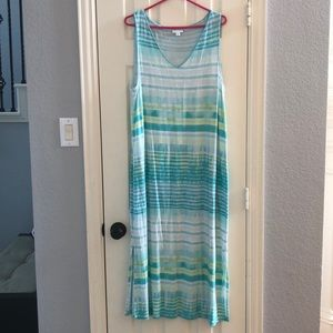 JJill faded stripe tank maxi dress